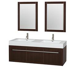 "60"" Axa Wall-Mounted Bathroom Vanity Set with Integrated Sink by Wyndham Collection - Espresso #BathroomRemodel #BlondyBathHome #BathroomVanity  #ModernVanity"