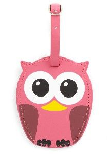 orange owl luggage tags | Who's Hoot Luggage Tag in Pink | Mod Retro Vintage Keychains ...