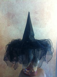 Glamorous Black Witch Hat - Black Organza and Satin Witch Hat - Costume Hat
