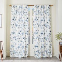 Cotton Canvas Shadow Floral Curtain   west elm