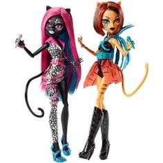 Кэтти Нуар и Торалей Страйп набор | Catty Noir and Toralei Monster High Fierce Rockers 2-Pack.