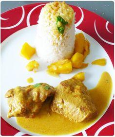 Curry de veau au lait de coco et citron vert – Riz aux dés de mangues et amandes effilées