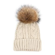 3d163e9f773 Girl Fashion Winter Fur Hats Fur pompom Beanies Cap Casual Fur Hat For  Woman Knitted Wool Skullies Beanie Warm Hat 6 Colors