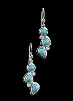 Turquoise & diamond earrings. Sterling silver triple melange setting with a French wire back. A Darby Scott exclusive design. Turquoise - Sterling Silver -Diamonds