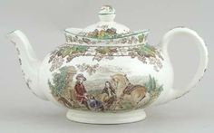 Spode - Byron brown with colour - Teapot c1930s