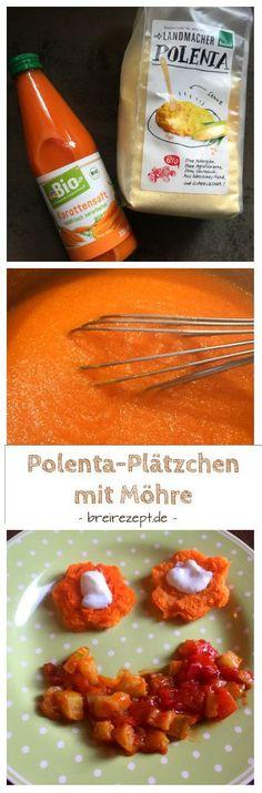 Rezept für Polentaplätzchen oder Polentaschnitten mit Möhre, die sich für Baby Led Weaning sowie als Fingerfood für das Baby parallel zum Brei eignen. Mit einem Ragout aus Möhre, Zucchini und Tomate ein leckeres Gericht aus der Kategorie Baby Food: http://www.breirezept.de/rezept_polentaplaetzchen_baby_moehre.html