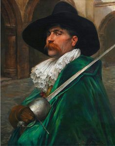 Alex de Andreis (1880-1929), British MUSKETEER IN A GREEN CAPE ON GUARD
