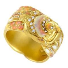 Masriera Enamel Diamond Gold Carp Band Ring