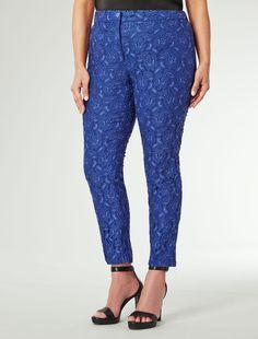 Marina Rinaldi ROSATEA blu marino: Pantalone in pizzo elasticizzato.