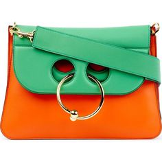 JW ANDERSON Pierce medium leather shoulder bag ($1,355) ❤ liked on Polyvore featuring bags, handbags, shoulder bags, genuine leather handbags, real leather handbags, shoulder strap handbags, green leather shoulder bag and green shoulder bag