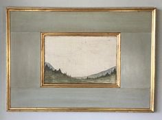 Landscape on aged burlap. Framed in gilded frame with polished plaster surround. Available in Gold or Silver gilded frame. Specify Horizontal or. Landscape Art, Landscape Paintings, Contemporary Landscape, Watercolor Landscape, Cuadros Diy, Estilo Interior, Tuscan Decorating, Painting Frames, Painting Art