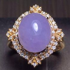 18K Gold Diamond Purple Jadeite Ring