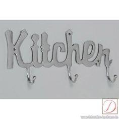 Garderobe Hakenleiste Kitchen silber Aluminium - Kreativ verbindet diese Hakenleiste das Dekorative mit dem Nützlichen. Hängen sie hier Ihre Schürzen oder Trockentücher auf!