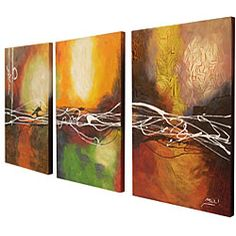 @Overstock - This hand-painted canvas art is dynamic and beautiful with many contemporary colors throughout. The art arrives in a set of three and is gallery wrapped and stretched for a striking cohesive look.http://www.overstock.com/Home-Garden/Hand-painted-Oil-Abstract-Canvas-Art-Set-of-3/4082140/product.html?CID=214117 $173.99