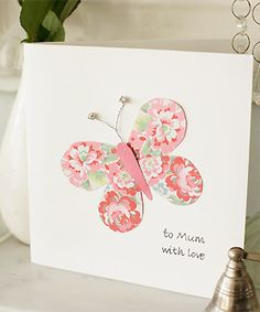 Don't forget Mother's Day: it's on March 6 this year. Here's how to make a pretty butterfly Mother's Day card that your mum will love. Mothers Day Ecards, Butterfly Crafts, Simple Butterfly, Pink Butterfly, Mothers Day Crafts For Kids, Make Your Own Card, Sunday School Crafts, Kids Cards, Mom Cards