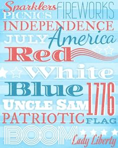 Independence Day/ 4th of July Subway Art printable #DIY #Decor #Free