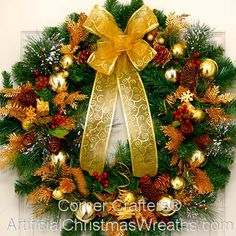 THIN GOLDEN SPLENDOR CHRISTMAS WREATH | ArtificialChristmasWreaths.com | CHRISTMAS WREATHS