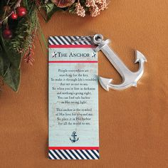 Share The Legend of the Anchor with this silver anchor ornament. Hang the metal anchor on the tree, or give it away as a tiny pre-Christmas gift. Nautical Christmas, Pre Christmas, Christmas Holidays, Christmas Gifts, Christmas Decorations, Christmas Ornaments, Christmas Ideas, Christmas Traditions, Anchor Decorations