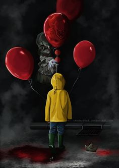 That's a lot of balloons🎈 how many does Georgie need! Your tryin to hard penny. Scary Movie Characters, Scary Movies, Horror Movies, Pennywise Tattoo, Pennywise The Dancing Clown, Horror Drawing, Horror Art, Wallpaper Bonitos, Scary Wallpaper