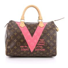Pre-Owned Louis Vuitton Speedy Handbag Limited Edition V Monogram... ($1,165) ❤ liked on Polyvore featuring bags, handbags, brown, man bag, brown hand bags, multi colored purses, brown purse and multicolor handbags