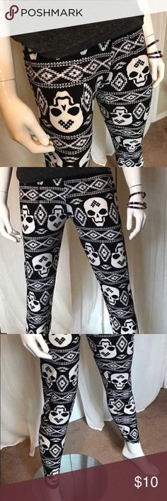 Buttery Soft Skull Leggings One size. Can fit up to a size 16. Buttery Soft 92% Polyester 8% Spandex.  New. Pants Leggings