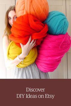 colors of giant merino wool knitting yarn. Shop DIY craft projects on Etsy. Chunky Knitting Wool, Giant Knitting, Arm Knitting, Diy Craft Projects, Diy Crafts, Yarn Crafts, Extreme Knitting, Super Chunky Yarn, Yarn Shop