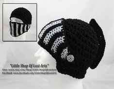 Ravelry mens knight helmet hat pattern by amy lehman all i free handed these hats from a photo someone sent me theyre now available on etsy you can view more photos here link crochet black knights helmet dt1010fo