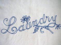 Vintage Hand Embroidered Laundry Bag  Hanging di shabbyshopgirls