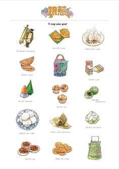 https://www.behance.net/gallery/27970093/Food-Illustration-Drawing. Kueh / Kuih / 粿: 本地传统娘惹糕点, 平民美食小吃. Hand Drawn by Ong Siew Guet