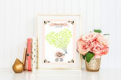Fingerprint Guestbook Floral Pram Baby shower by SEEONEE