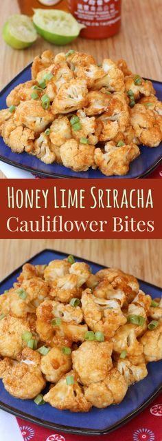Honey Lime Sriracha Glazed Cauliflower Bites - spicy, sweet, sticky appetizer, snack or side dish! Gluten free too!