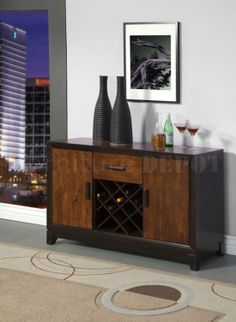 Buffet wine rack with 2-toned wood