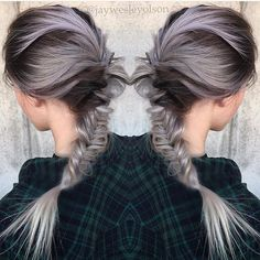 Granny hair with edgy braid style by Jay Wesley Olson Gray Hair Grey Hair Metallic Silver Hair #hotonbeauty fb.com/hotbeautymagazine