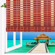 Natural Bamboo Roll Up Window Blind Roman Sun Shade WB-SUN3201 (W32XH72)