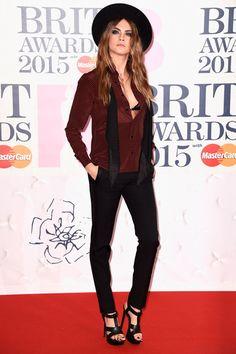 Cara Delevingne in Saint Laurent at the BRIT Awards