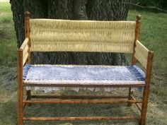 Repair an Old Bench by Weaving the Seat with Fabric