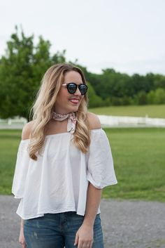 Off The Shoulder Top & Bandana Necktie