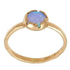 Classic Solitaire Round Opal Ring in 14k Rose Gold by NetaJewelry, $244.00
