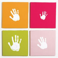"Handprint Wall art set ""Our Spin"" what a fun way to welcome a baby's room from siblings and parents."