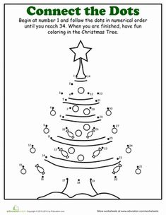 Christmas Kindergarten Holiday Worksheets: Christmas Dot to Dot: Tree