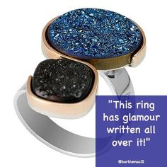 A black and blue Druzy statement/cocktail ring in both 9kt gold and silver #double druzy #contemporary druzy design #contemporary druzy ring #druzy jewellery #druzy jewelry #druzy statement ring #blue druzy #black druzy #modern druzy ring #modern ring design