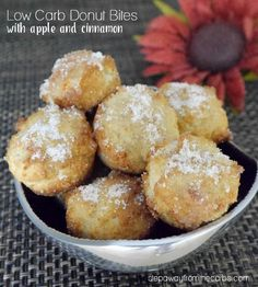 Low Carb Donut Bites with Apple and Cinnamon - sugar free, keto, and gluten free recipe - I recommend lining the muffin tin with parchment paper - the bottoms of mine stuck to the tin, even though I was very generous with the butter! Desserts Keto, Keto Friendly Desserts, Keto Snacks, Holiday Desserts, Dessert Recipes, Healthy Snacks, Diabetic Snacks, Diabetic Friendly, Recipes Dinner
