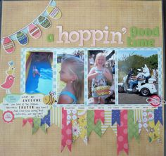 galleries, time, scrapbook layouts, ribbons, papercraft scrapbook, scrapbook photo, layout easter, ribbon scrap, hoppin