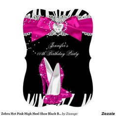 Zebra Hot Pink High Heel Shoe Black Birthday Party Card Birthdays