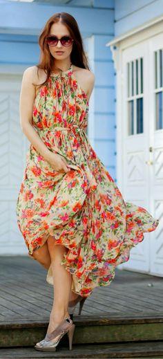 Zeliha's Blog: Summer Cute Floral Maxi Dress