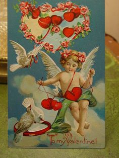 San Valentino cartolina Angelo, cuori, uccelli, di colombe, Cupido, rosa rose bianche