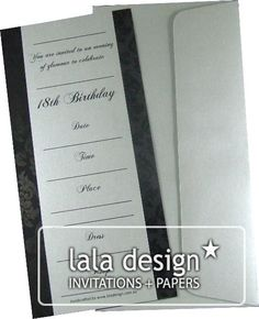 Black damask 18th birthday invitation