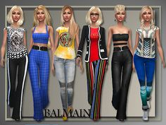 4 tops + 3 bottoms by Judie at All About Style via Sims 4 Updates