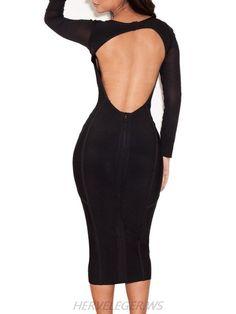 Herve Leger Long Sleeve Cutout Back Dress