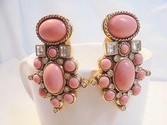Vintage Elizabeth Taylor for Avon Earrings Gold Plated Tone Clip On *STUNNING*!! #ElizabethTaylorforAvon #DropDangle